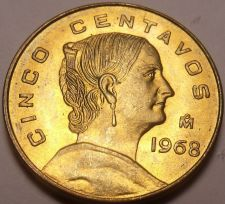 Buy Unc Mexico 1968 5 Centavos~Brass Coin~White Josefa~Free Shipping