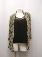 Buy JM Collection Beaded Gold & Black Layered Look 3/4 Sleeves Evening Top Size S