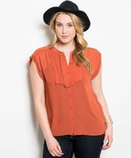 Buy Zenobia Rust Cap Sleeves Stand Collar Sheer Button Down Pleated Top Size XL-3XL