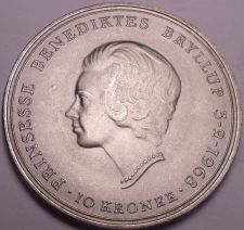 Buy Rare Bu Silver Denmark 1968-C-H-S 10 Kroner~Wedding of Princess Benedikte~Fr/Shi