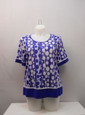 Buy PLUS SIZE 2XL Womens Knit Top ESSENTIAL Multi Geometric Short Sleeves Pullover