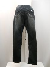 "Buy Bubblegum Dark Acid Washed Straight Leg Jewled Pockets Inseam 32"" Jeans Size 22"