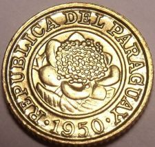 Buy Gem Unc Paraguay 1950 Centimo~Last Year Ever Minted~Flower~Free Shipping