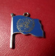 Buy ENAMEL CHARM: R Sterling Blue Enamel Flag w/ GLOBE