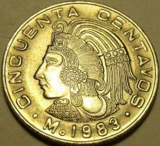 Buy Gem Unc Mexico 1983 50 Centavos~Last Year Ever Minted This Type~Free Shipping