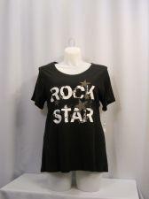 Buy INC Women's T-Shirt Plus Size 0X Jeweled Black Rock Star Short Sleeve Scoop Neck