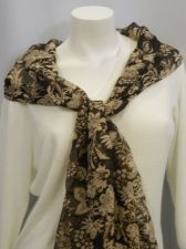 """Buy Cejon Women's Scarf 70""""X 20"""" Brown Floral Print Stole Shawl Wrap 100% Polyester"""