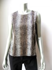 Buy Notations NEW Leopard Rear Keyhole Side Slits Sleeveless Poly Tank Top Cami S PR