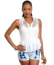 Buy S Line Women's Peplum Top Misses Size S-L Sheer White Lace Bodice Sleeveless