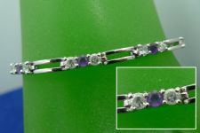 "Buy VERY Purple Amethyst 7.25"" Bracelet Sterling 925 Silver w/ White Gemstone Accent"