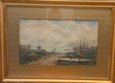 Buy LISTED FREDERICK S. BURGY (AMERICAN, 19TH CENT) UNTITLED LANDSCAPE WATERCOLOR