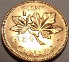 Buy Gem Uncirculated Canada 1964 Maple Leaf Cent~Queen Eliz