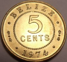 Buy Gem Unc Belize 1974 5 Cents~Nickel-Brass~Only 210K Minted~Free Shipping~