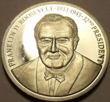 Buy Silver-Plated Cameo Proof Franklin D. Roosevelt Proof Medallion~Free Shipping