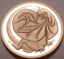 Buy Cameo Proof Australia 1985 2 Cents~Frilled-Neck Lizard~75,000 Minted~Free Ship