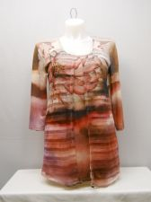 Buy Women's Knit Top Size L LIVE AND LET LIVE Sheer Overlay Scoop Neck Floral Career