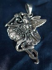 Buy NWOT BEAUTIFUL sterling silver FLOWER FAIRY PENDANT 38mm TALL