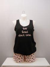 Buy SIZE L Women 2PC Shorty PJ Set SECRET TREASURES Black Pink Sleeveless Scoop Neck