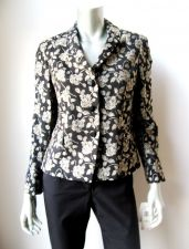 Buy Jones New York NEW Black Tapestry Gold Floral Lined Long Sleeve 3-Button Blazer