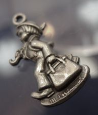 Buy vintage CHARM: sterling 925 silver M.I. Hummel Club 1990 Boy & Umbrella