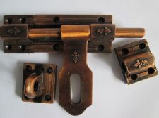 Buy Vintage Slide Latch Bolt Door Hasp Cast iron Rustic Long Handle Double Lock tool