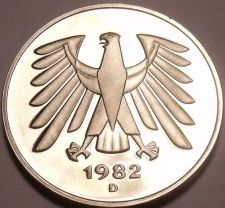 Buy Gem Cameo Proof Germany 1982-D 5 Marks~Eagle With 14 Feathers~78k Minted~Free Sh
