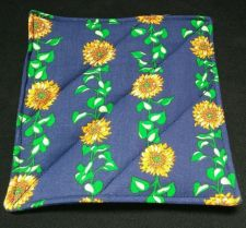 Buy 100% quilted Cotton Pot Holder Sunflowers design hand made