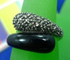 Buy sz 8 Ring Sterling 925 Silver Marcasite and Onyx Bypass Wrap the Finger