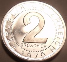 Buy Proof Austria 1976 2 Groschen~Only 44,000 Minted~Imperial Eagle~Free Shipping