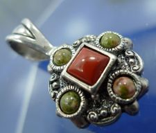 Buy Reversible Cabochon Pendant Signed PD Premier Designs Sterling Coral Carnelian