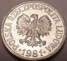 Buy Unc Poland 1981-MW 10 Groszy~Eagle With Wings Spread~Free Shipping