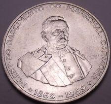 Buy Unc Silver Portugal 1969 50 Escudos~Birth Of President Marechal Carmona~Fr/Ship