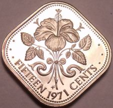 Buy Rare Proof Bahamas 1971 15 Cents~Hibiscus~Triangle Coin~31K Minted~Free Shipping