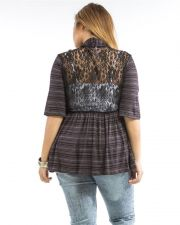 Buy Aban Brown Striped Lace Back 3/4 Sleeves Open Front Cardigan Size 1XL-3XL