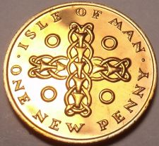 Buy Rare Proof Isle Of Man 1971 Penny~1st Year Ever~Celtic Cross~10,000 Minted~Fr/Sh