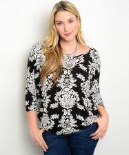 Buy Zenobia Paisley Multi-Color Scoop Neck Dolman Sleeves Knit Top Size 1XL-3XL