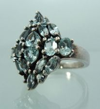 Buy sz 6.75 Sterling 925 Silver Ring - Many (17) Pale Pale Blue Topaz - Almost White