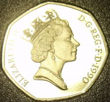 Buy Large Cameo Proof Great Britain 1990 50 Pence~Collect GB Proofs~Free Shipping