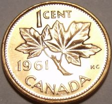 Buy Gem Unc Canada 1961 Maple Leaf Cent~Queen Elizabeth II~Free Shipping