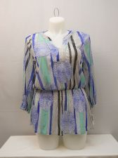 Buy Alfani Womens Plus Size 0X 2 Pc Peplum Sheer Geometric Top & Soild Tank Pullover