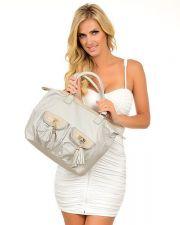 Buy Gray Handbag Embellished with Tassel Pockets Gold Trim Faux Leather Purse Bag