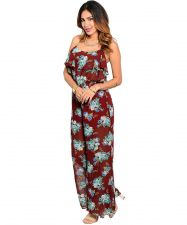 Buy Womens Jumpsuit SUGARMINT Sheer Brown Floral Wide Leg Spaghetti Straps Lined S-L