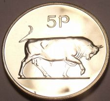Buy Rare Proof Ireland 1971 5 Pence~1st Year Ever Minted~Bull~Free Shipping