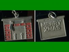 Buy vintage CHRISTMAS CHARM : WELLS STERLING FIREPLACE w/ 1 STOCKING : MERRY XMAS