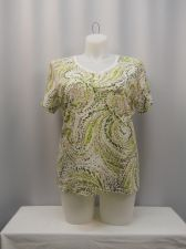 Buy Karen Scott Knit Top Plus Size 1X Multi Color Geometric Short Sleeves V-Neck