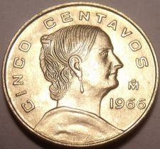 Buy Unc Mexico 1966-Mo 5 Centavos~Minted In Mexico City~Free Shipping