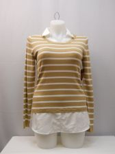 Buy Faded Glory Women's Sweater Size L Striped Layered Twofer Collared Pullover
