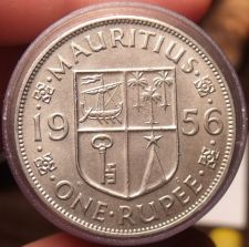 Buy Gem Unc Roll (20 Coins) Mauritius Large 1956 1 Rupee~Thick Security Edge~ Fr/Shi