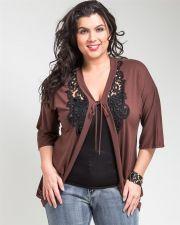 Buy J&D Fashion Brown 3/4 Sleeves V-Neck Knit Cardigan Jr Plus Size 1XL-3XL