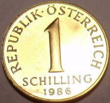 Buy Rare Proof Austria 1986 1 Schilling~Only 42,000 Minted~Excellent~Free Shipping